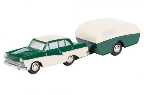 01414 schuco piccolo 1:90 Ford 17m avec caravane vert-beige