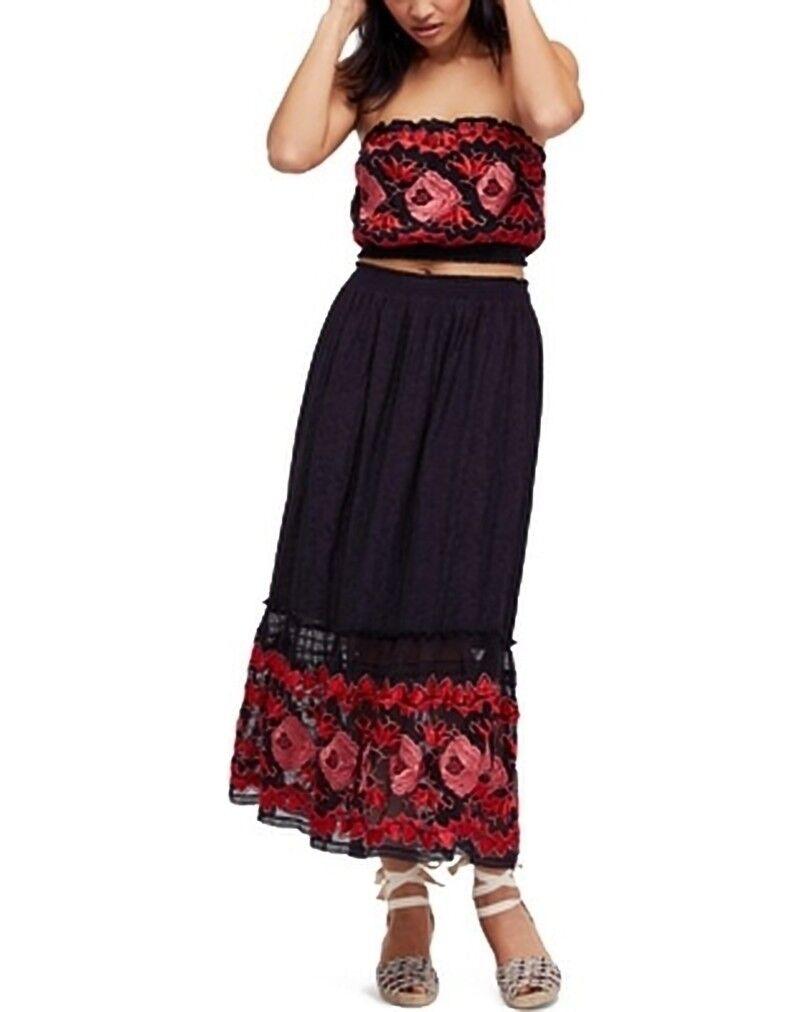 Free People pinkbud 2Pc Tube Top & Midi Skirt Large MSRP   350.00