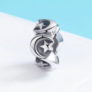 European-Sterling-Silver-925-Charm-Pendant-Moon-amp-Star-Beads-Fit-Bracelets-Chain