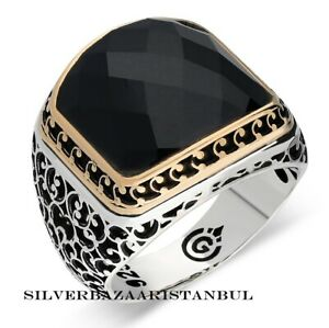 Details zu Black Onyx Stone Turkish Handmade 925 Sterling Silver Mens Fashion Ring ALL SİZE
