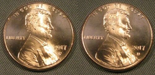 2017 P D Lincoln Shield Cent 1-P 1-D Brilliant Uncirculated Coin Set From Roll/'s
