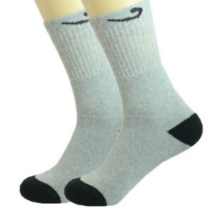 3 Pairs Mens Black Solid Sports Athletic Work Crew Long Cotton Socks Size 10-13