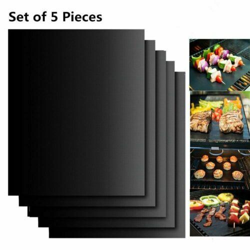 5x Grillmatte Dauer Antihaft BBQ Grillmatten Bratfolie Backmatte 33x40cm