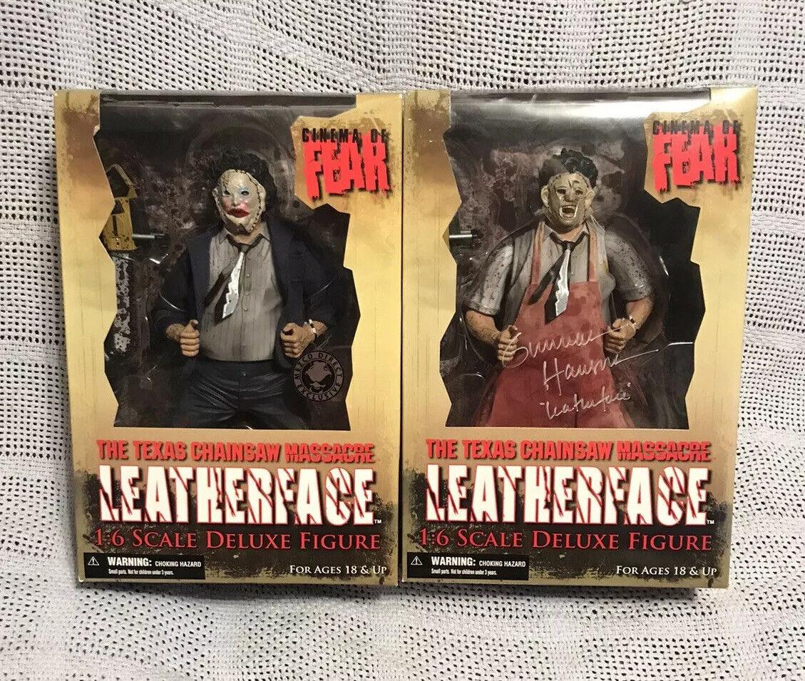 "Mezco Cinema Of Fear Texas Chainsaw Massacre 12"" LeatherFace Set Signed Rare"