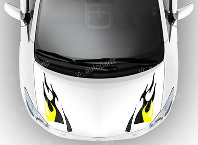 Car Front Hood Body Graphic Vinyl Sticker Decal Blade Blaze Flame Fire Eyebrow