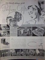 1937 Vintage Coty Perfume Gifts Bottles Powder Fragrance Ad