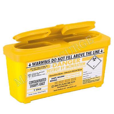 1L Sharps Bin / Needle Box, Medical, Tattoo, Syringe Waste, Compact, BSI CE Mark