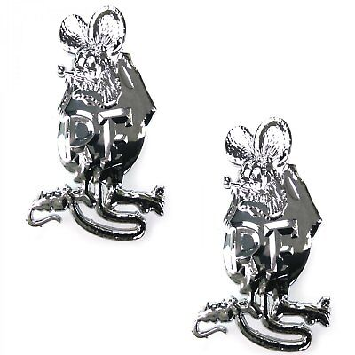 UK Chrome Motorcycle Emblems HIGH QUALITY Car Rat Fink RATFINK BADGE PAIR 80mm