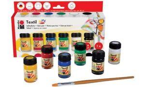 Marabu-Textilfarbe-034-Textil-034-Starter-Set-6x15ml-Stoffmalfarbe-Pinsel