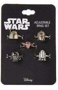 Disney-Star-Wars-5-Adjustable-Ring-Set-Darth-Vader-Yoda-C-3PO-R2-D2-Boba-Fett