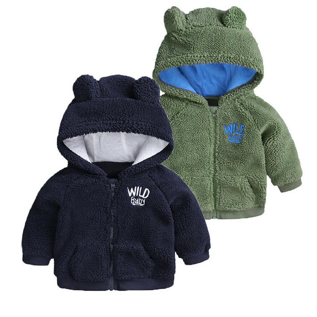 US Newborn Baby Boy Hooded Fur Coat Winter Warm Thick Cloak Jacket Clothes New