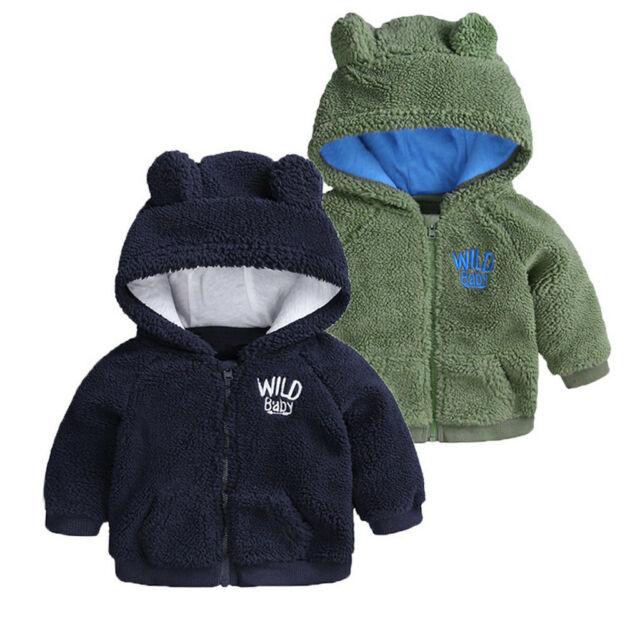 Baby Infant Girls Boys Autumn Winter Hooded Coat Cloak Jacket Thick Fur Warm