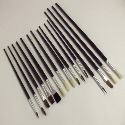 15 Artist Brushes Paint Brush Set Assorted Sizes Acrylic Oil Brushes Flat Tipped