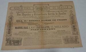ANTIGUO-CARTEL-PLAZA-DE-TOROS-DE-SEVILLA-1885-59x43-Centimetros