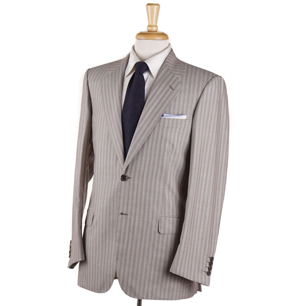 NWT 6395 BRIONI Sand Beige Stripe Lightweight Wool Suit 38 R (Eu 48)