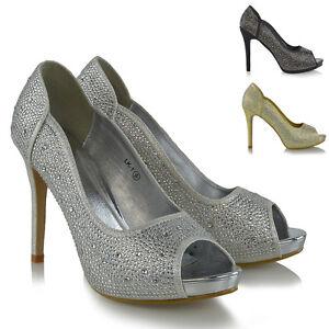 límpido a la vista precio inmejorable amplia selección de colores Detalles de Con Plataforma Para Dama Zapatos de salón tacón Brillante  Pedrería Boda