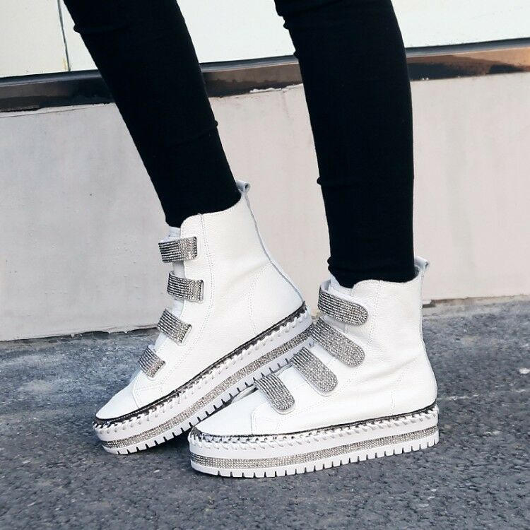 Casual Women's Platform Rivet Wedge Shoes Rhinestone Ankle Boots Size 4-9  shoes