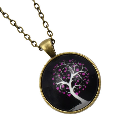 Vintage Tree Design Cabochon Necklace Glow in Dark Charm Glass Dome Pendant Gift