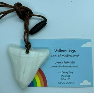 Silicone-Shark-Tooth-Chew-Necklace-Pendant-Autism-ADHD-Sensory-Pearl-White