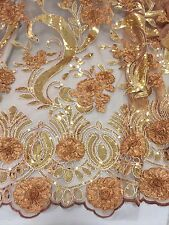 """LT BROWN/GOLD/SILVER METALLIC EMBROIDERY SEQUIN MESH LACE FABRIC 50"""" WiIDE 1 YD"""
