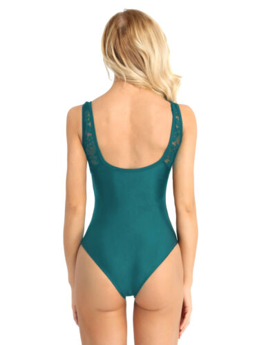 Women Adult Ballet Dance Leotard Top Bodysuit Sleeveless Lace Shoulder Bodycon