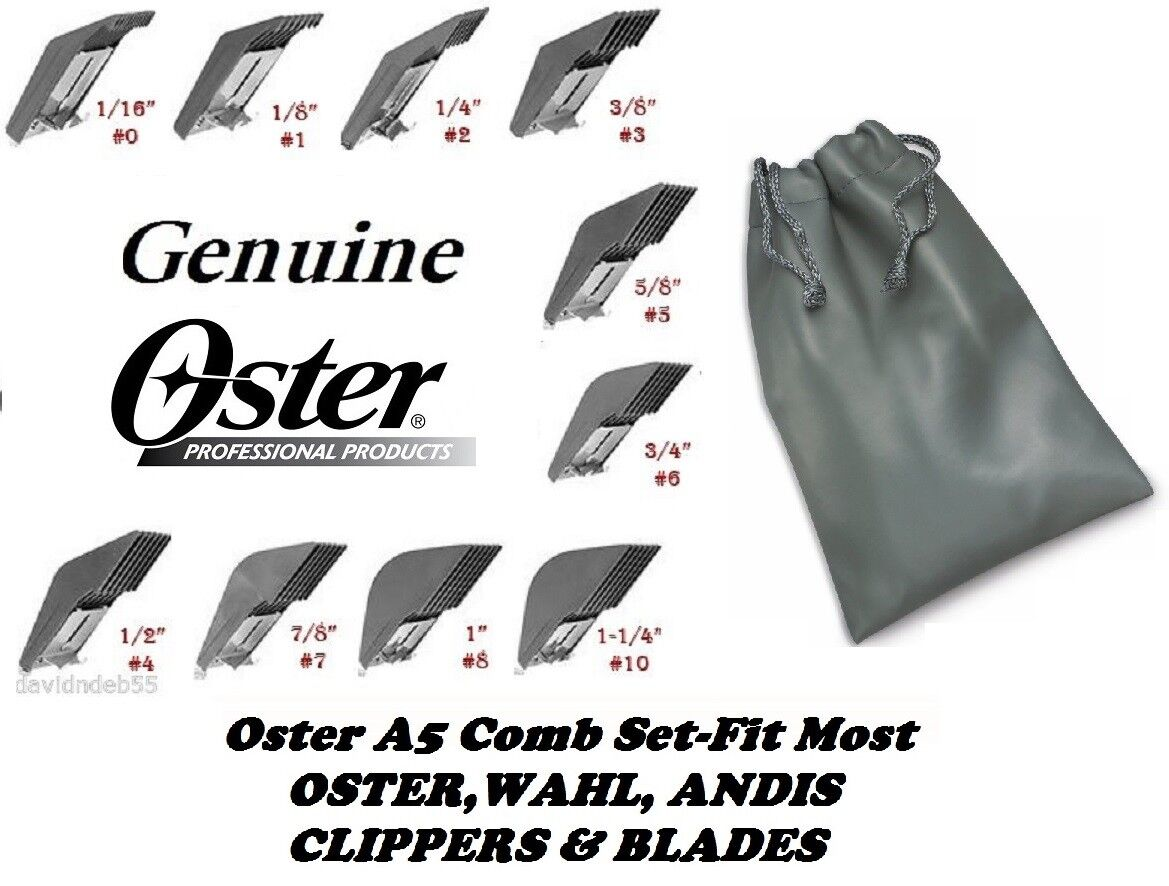 10pc OSTER GUIDE SNAP ON CLIP Blade COMB SETFit A5,A6 & Most Wahl,Andis Clipper