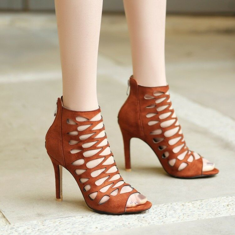 Damenschuhe Faux Suede Party Open Toe Hollow Stilettos Out High Heel Stilettos Hollow Sandales Schuhes 8a4c7b