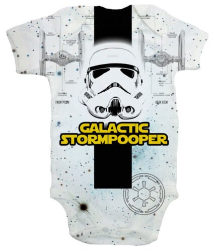 """Dirty Fingers /""""Galactic Stormpooper/"""" Baby All Over Print Bodysuit Storm trooper"""