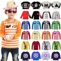 Kids Boy Girl Long Sleeve T-Shirt Crew Neck Blouse Casual Printed Tee Tops 1-8Y