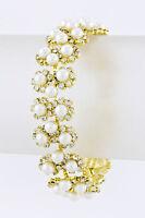 Bridal Vintage Look Gp Daisy Flower Link Rhinestone Crystal Pearl Bracelet