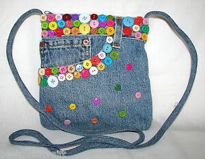 Multicolore Fait Jeans À Bleu Main Bouton Sac Bandoulière Slim Neuf 7AgS4nxwqS