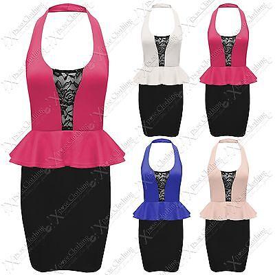 X93 NEW WOMENS MESH INSERT MONOCHROME PEPLUM FRILL SHIFT LADIES BODYCON DRESS