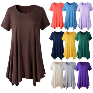 Women-039-s-Summer-Short-Sleeve-A-Line-Blouse-Casual-Loose-Swing-Tunic-T-shirt-Tops