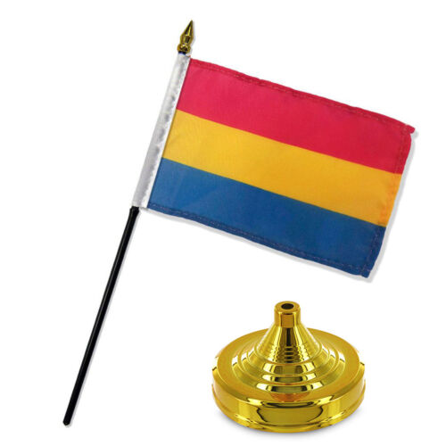 "Gay Pride Pansexual Rainbow Flag 4/""x6/"" Desk Set Table Stick Gold Base"