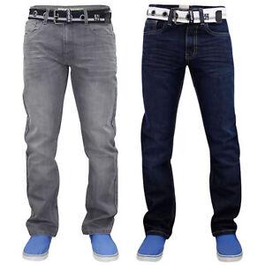 New ENZO Mens Work Basic Straight Regular Leg Fit Blue Belt Denim Jeans Big Size