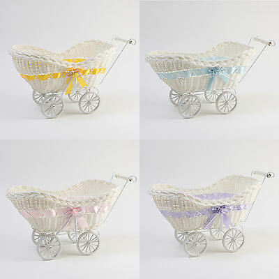 LARGE WICKER HAMPER PRAM BASKET GIFT BABY SHOWER