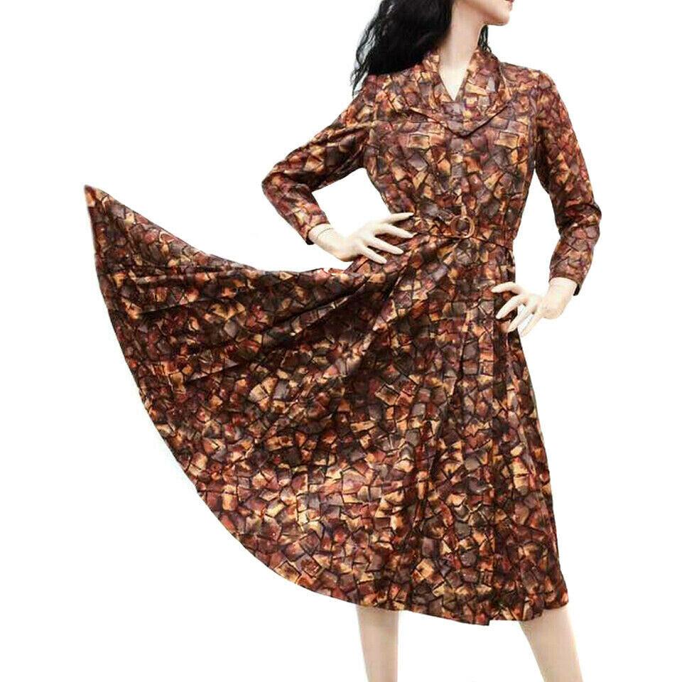 M/L Vintage 40s Copper Brown Satin Long Sleeve Te… - image 8