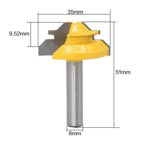 Holz Cutter Werkzeuge 45 Grad Schloss Mitre Router Bit 8mm Schaft 1 3 8 /'/'