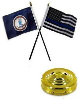 Virginia State & Usa Police Blue 4x6 Flag Desk Set Table Stick Gold Base