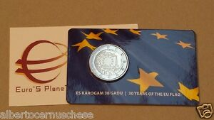 coin card 2 euro 2015 LETTONIA bandiera flag drapeau Lettonie Lettland Latvia