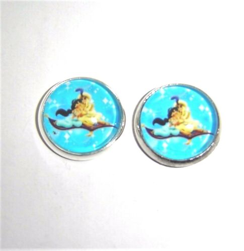 PRINCESS JASMINE AND ALADDIN GLASS STUD EARRINGS SILVER PLATED IN GIFT BAG