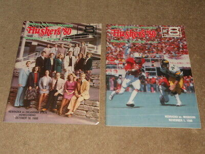 2 1980 Nebraska Cornhuskers Football Programs VS Missouri ...