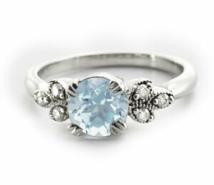 925-Sterling-Silver-Ring-Blue-Aquamarine-Natural-Solitaire-Leaf-Size-4-11
