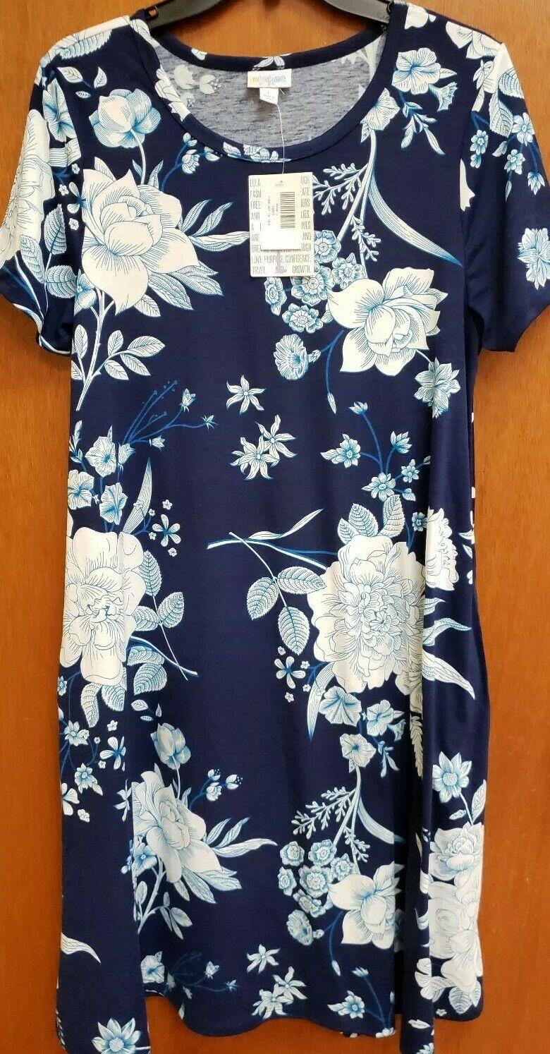 NWT LULAROE JESSIE DRESS LARGE NAVY Blau Weiß RosaS FLORAL  New Style