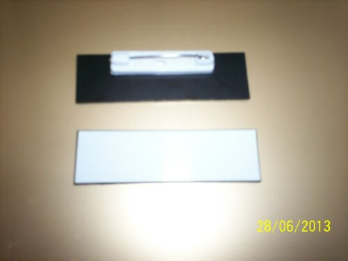 Pins 3//4 x 2.5 inches 20 White Plastic Blank Name Tags Badges