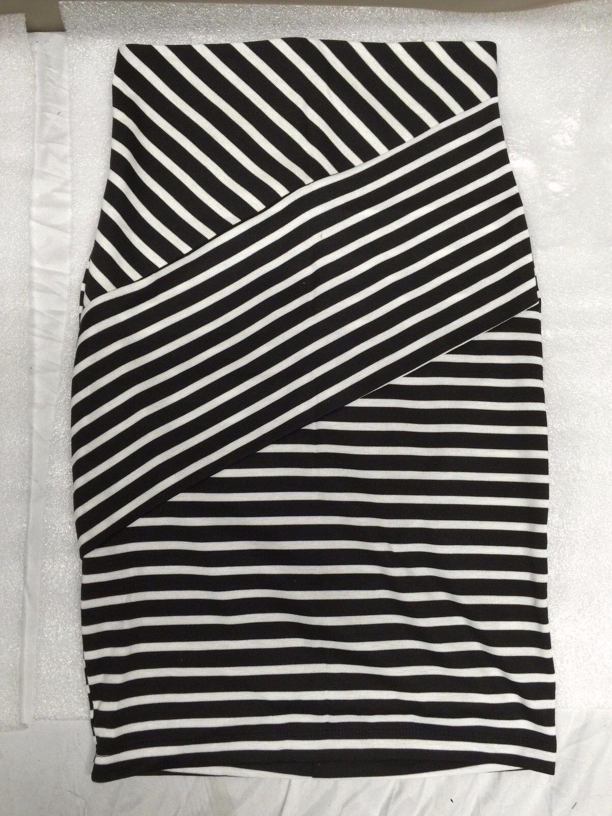 JustFab Placed Striped Ponti Skirt