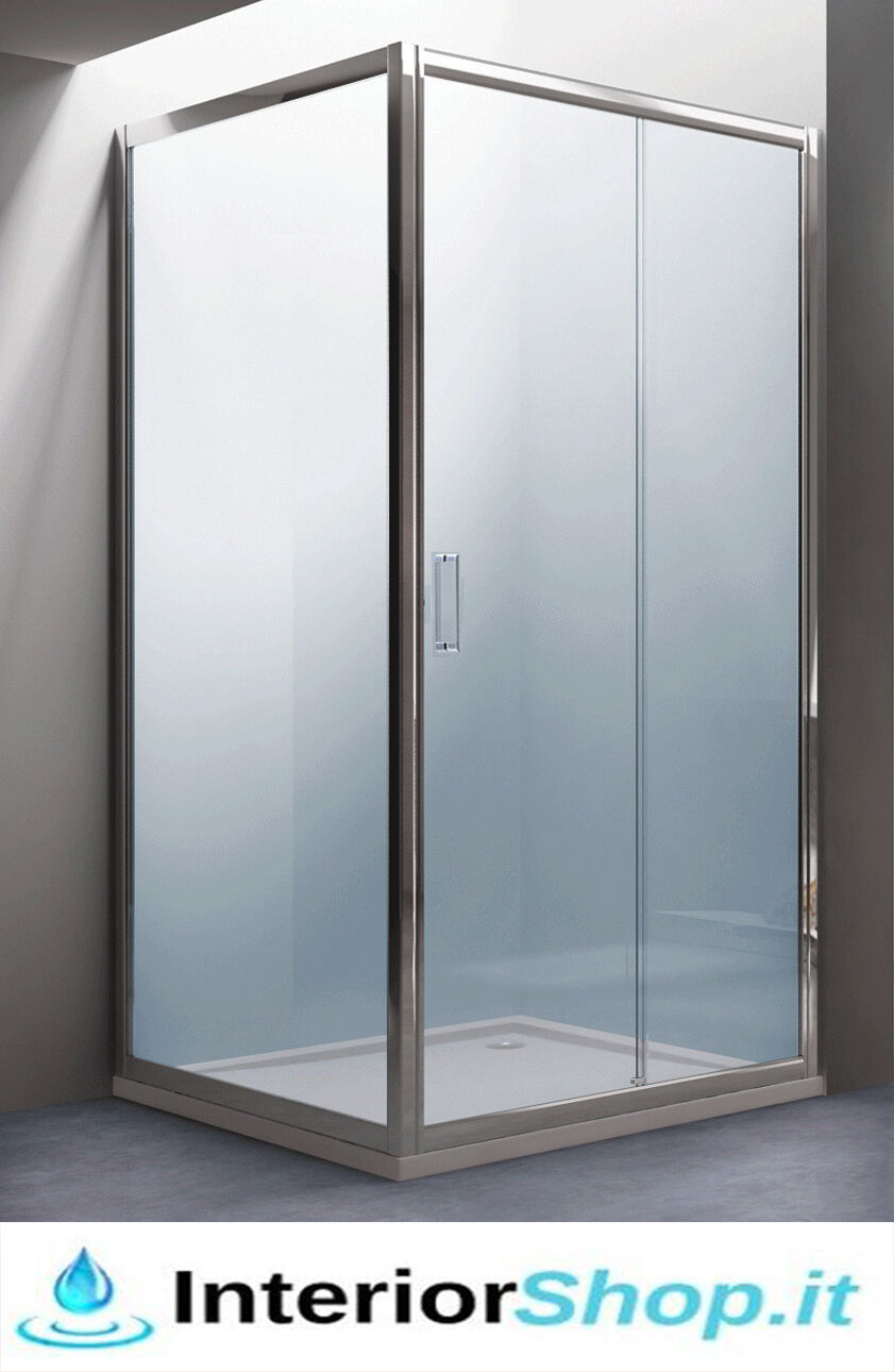 Box Cabina doccia Coloreee acciaio AZZURRITE6mm Vetro Cristallo Trasparente H195