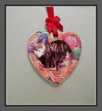 TWO TABBIES IN A BASKET OF YARN -  CERAMIC HEART CAT ORNAMENT WITH RED RIBBON