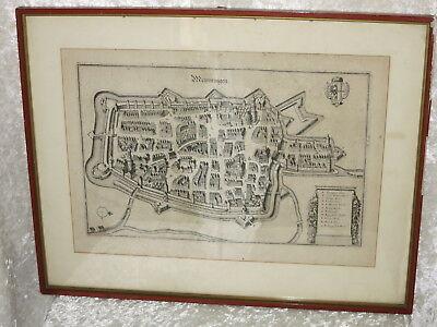 Ausdrucksvoll Antiker Kupferstich Von Memmingen / Bayern, 1650, Gerahmt, Merian, S. Wikipedia