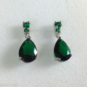 Image Is Loading P 21 Large Green Emerald Pear Drop Silver